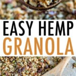 Photos of hemp granola on a wood spoon and on a baking sheet.