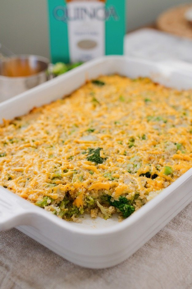 Cheesy broccoli casserole made healthy! This version has protein-packed quinoa instead of instant rice, freshly grated cheese and natural mushroom soup instead of condensed cream of mushroom.