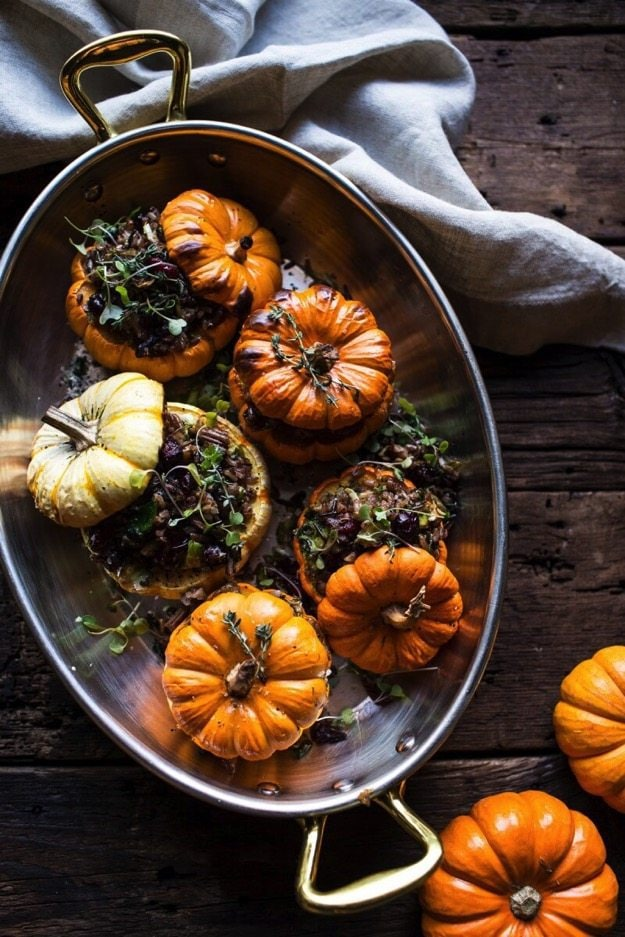 Nutty Wild Rice and Shredded Brussels Sprout Stuffed Mini Pumpkins 1