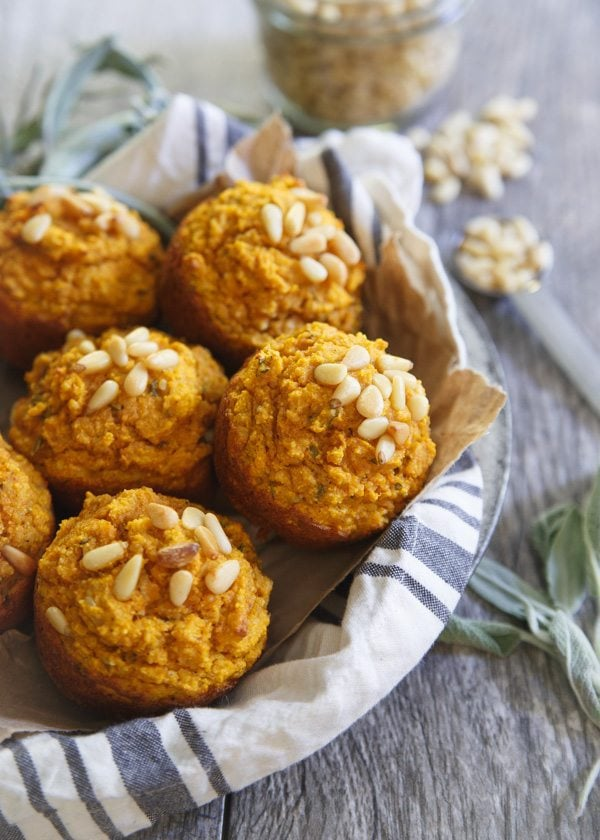 Toasted Pine Nut Herb Pumpkin Muffins by Running to the Kitchen