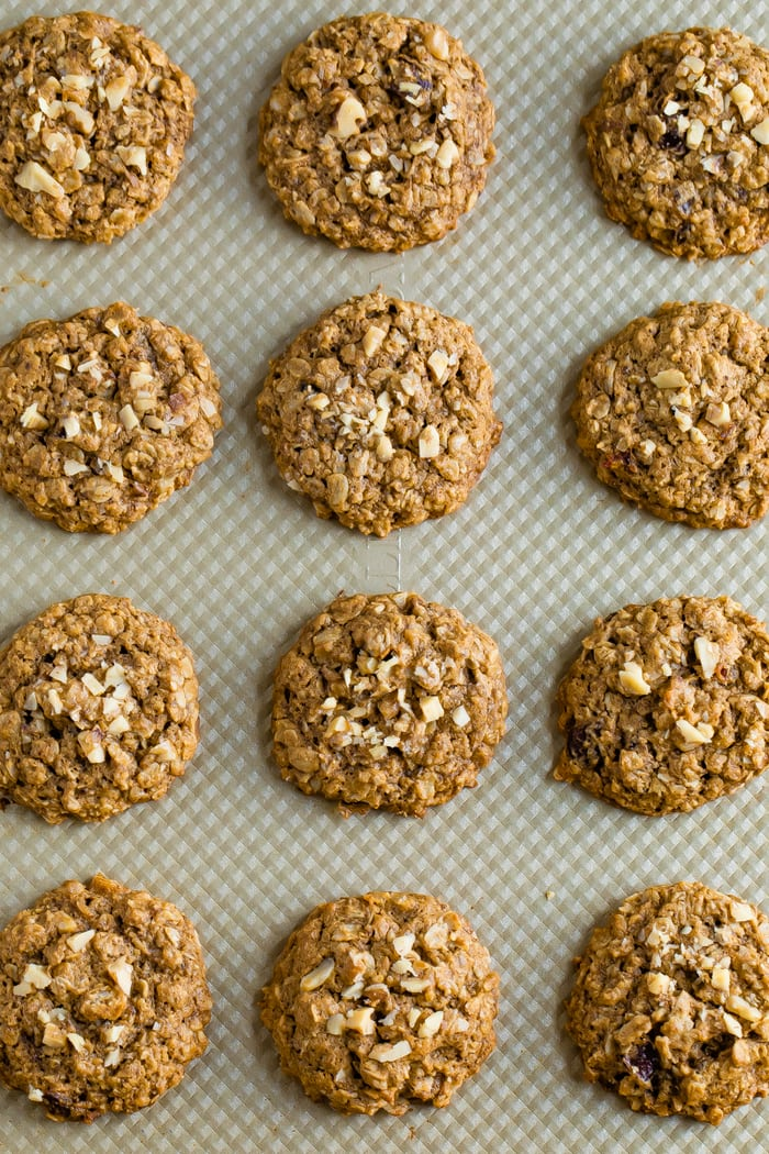 Twelve oatmeal date cookies lined up in rows on a baking sheet