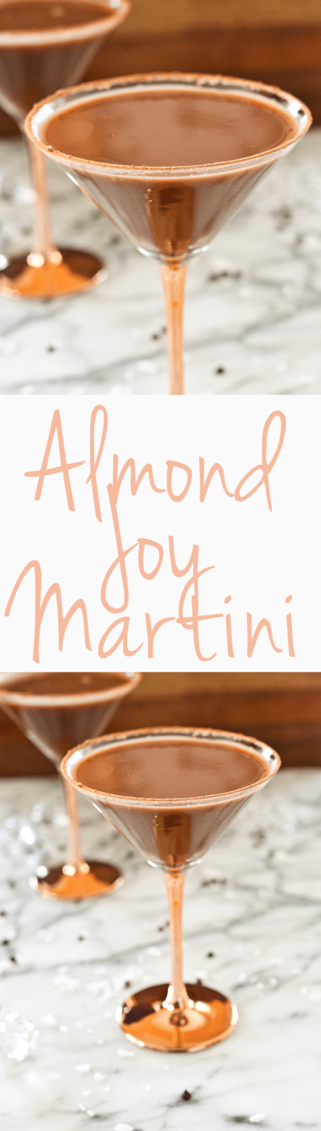 A rich and nutty Almond Joy Martini with chocolate coconut water, vodka and a splash of amaretto. It's perfect for holiday parties and a tad healthier since it's made with coconut water.