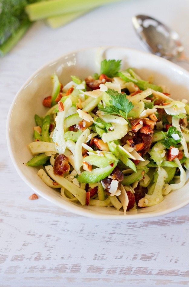 Fennel and Celery Salad with Dates and Shaved Parmesan // A bright and ...