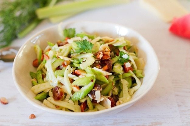 Fennel and Celery Salad with Dates and Shaved Parmesan // A bright and fresh salad that you can add to any meal!