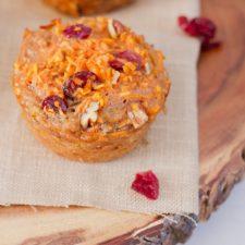 Spiralized cranberry pecan sweet potato muffins.