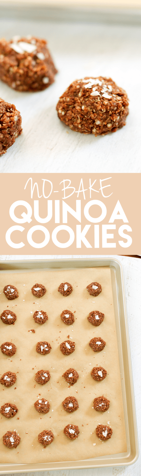 Healthy No Bake Quinoa Cookies -- They're the perfect sweet treat for the holiday season. Gluten-free & vegan.