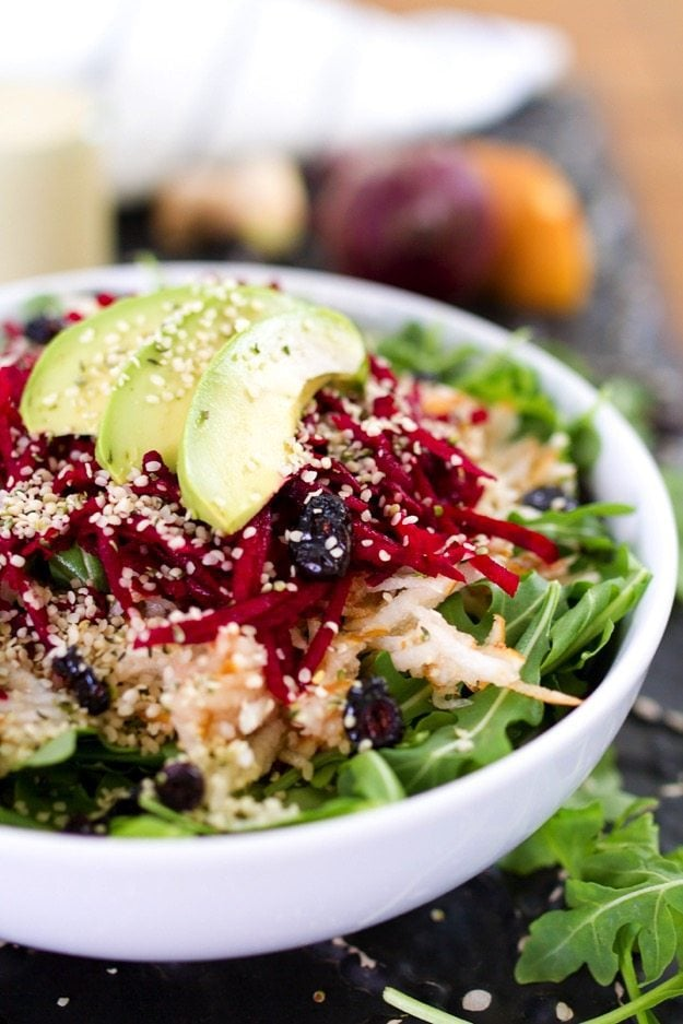 Pear and Beet Salad with a Ginger Hemp Dressing
