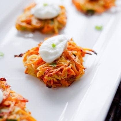 Sweet Potato and Parsnip Spiralized Latkes