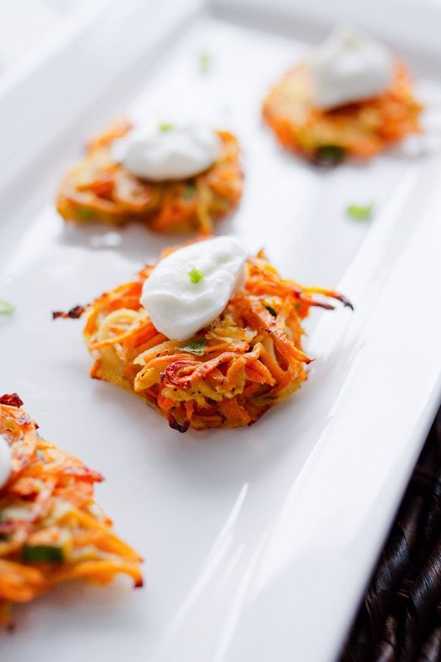 Sweet Potato and Parsnip Spiralized Latkes