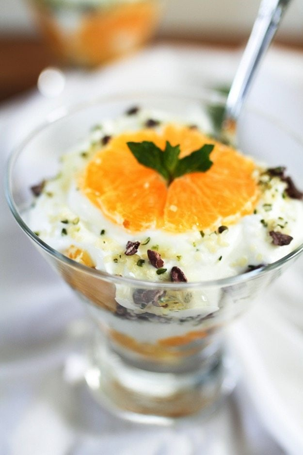 Clementine Greek Yogurt Parfaits with layers of creamy yogurt and juicy clementines along with a Hemp Heart and cacao nib crumble