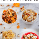 "Collage of 4 different trail mixes. Text on top reads ""10 Healthy Trail Mix Recipes"""