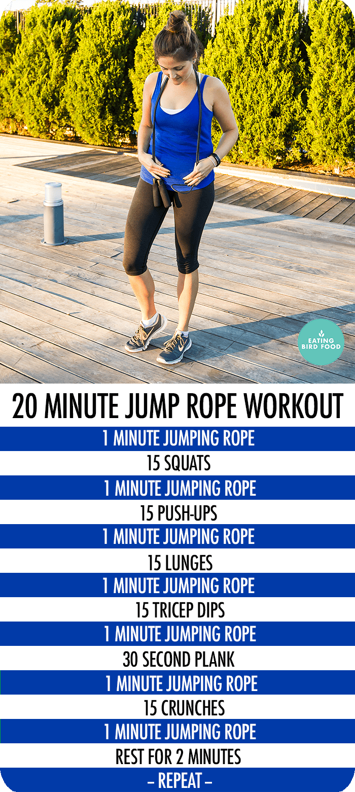 Graphic with the workout listed out and girl holding jump rope outside.