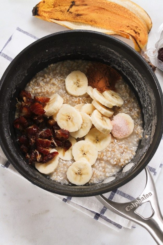 Salted Date Oatmeal ingredients in a saucepan.