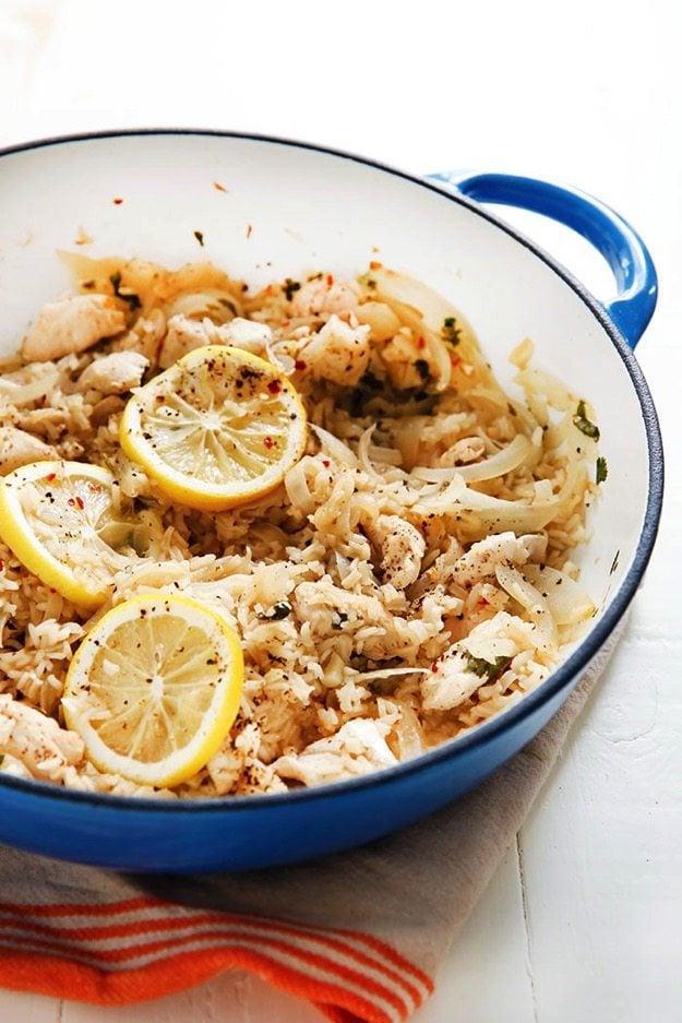 Lemon Garlic Chicken Rice Skillet