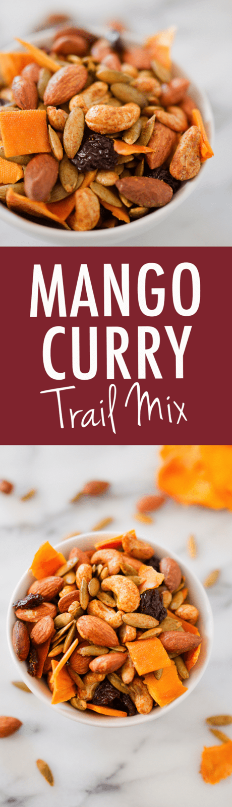 An addictive blend of roasted nuts, sweet mango, dried cherries and curry seasonings, this Mango Curry Trail Mix is perfect for parties or on-the-go snacking!
