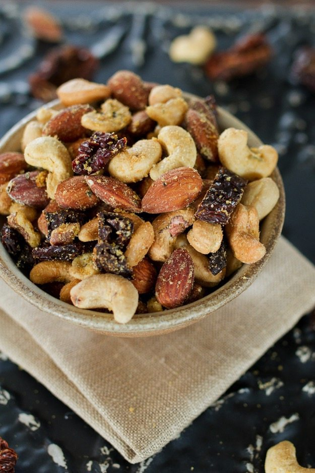 Pizza Trail Mix -- A savory, cheesy mix of roasted nuts with sun-dried tomatoes and Italian seasonings.