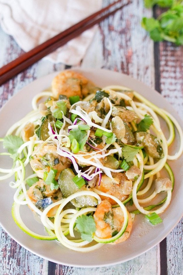 Thai Green Shrimp Curry over Zucchini Noodles #lowcarb #healthy #cleaneating