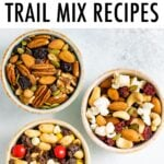 Three bowls of trail mix.