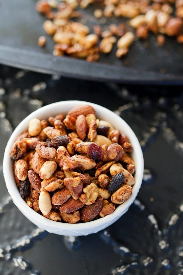 Spicy Cajun Trail Mix with peanuts, almonds, walnuts and sunflower seeds.
