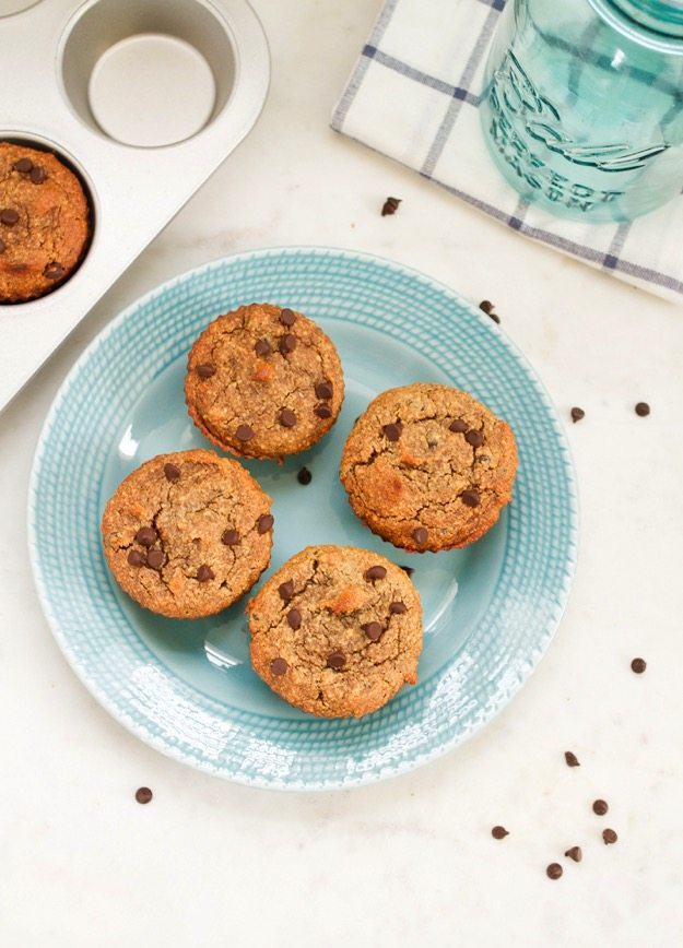 Date Sweetened Almond Flour Chocolate Chip Muffins