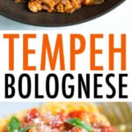 Photos of tempeh bolognese in a pot being stirred with a wooden spoon, and a plate of spaghetti topped with the tempeh bolognese sauce.