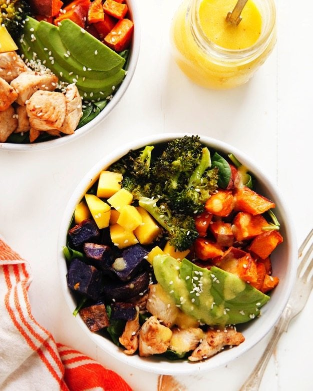 Chicken Spicy Broccoli Buddha Bowl with Spicy Mango Sauce