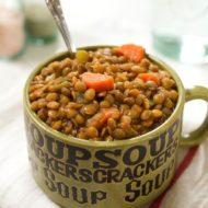 Roasted Garlic Lentil Soup