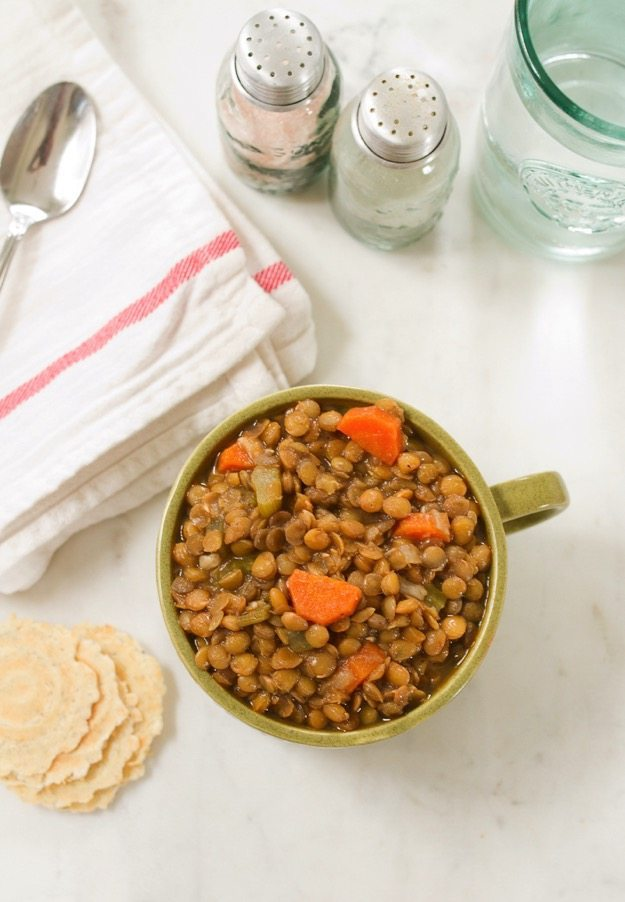 This flavorful lentil soup with roasted garlic tastes like it's been cooking all day, but actually cooks up in less than an hour.