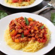 Tempeh Pasta Sauce over Spaghetti Squash