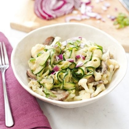 Zucchini Noodle Fettuccine with Cauliflower Alfredo