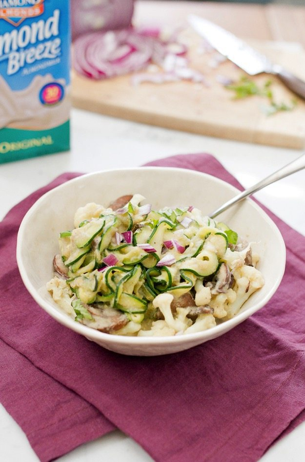 Quick and easy dinner idea that's packed with veggies and much lighter than regular fettuccine alfredo.