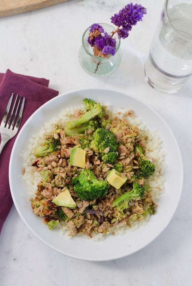 Paleo + Gluten-Free Creamy Avocado Broccoli Tuna Bowl