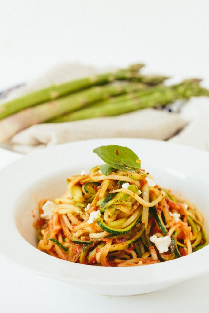 spiralized zucchini and asparagus
