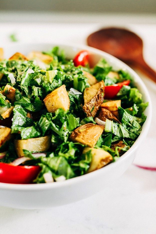 Mustard Greens Salad with Roasted Potatoes and Tomatoes