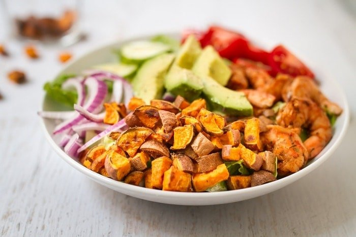 Roasted sweet potato croutons are crunchy, sweet and easy to make. They're the perfect healthy topping for salads and soup!