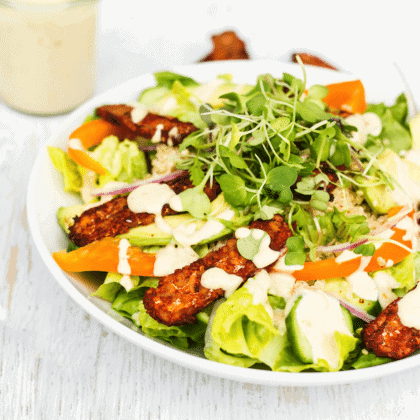 Blackened Tempeh Salad with Orange Tahini Dressing