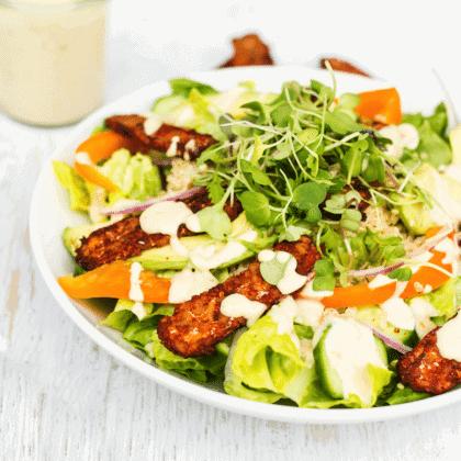 Blackened Tempeh Salad with Orange Tahini Dressing