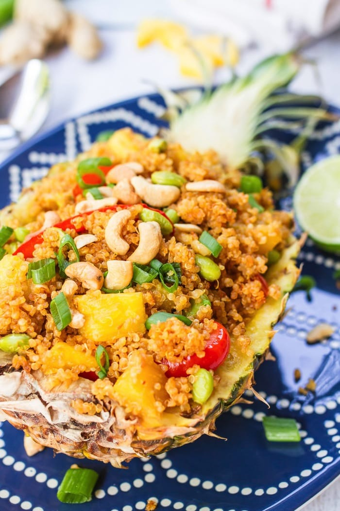 HEALTHY Pineapple Fried Quinoa in a Pineapple Boat // Vegan + Gluten-Free