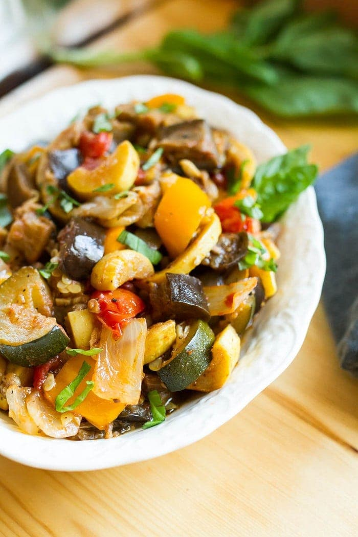Load your summer farmers market haul into the slow cooker for a delicious ratatouille that you can use in a variety of ways. Serve as a side, over pasta or bread, with a grilled protein or even in an omelet.