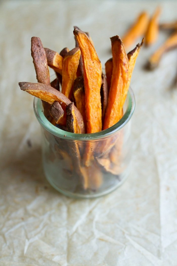 Satisfy your craving for fries with these healthy baked sweet potato fries. They're crispy and delicious.