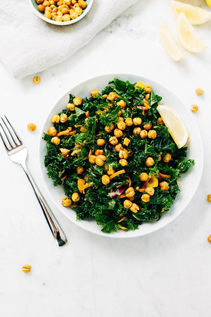 Lemon Love Kale Salad. Kale coated in zesty lemon dressing and topped with crispy roasted chickpea croutons.