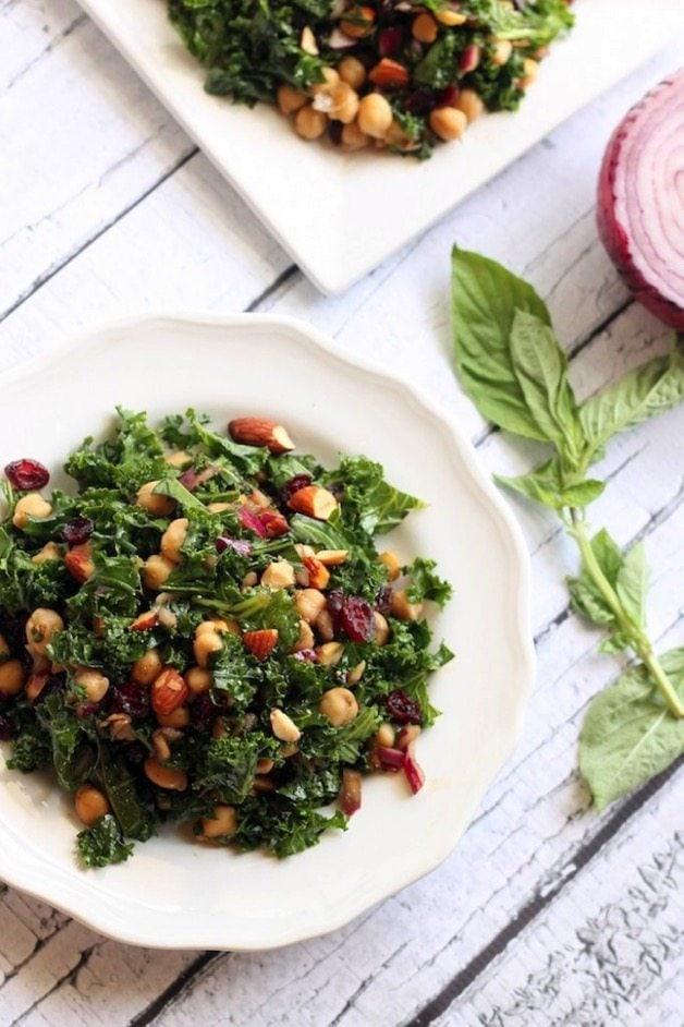 Basil Balsamic Chickpea and Kale Salad