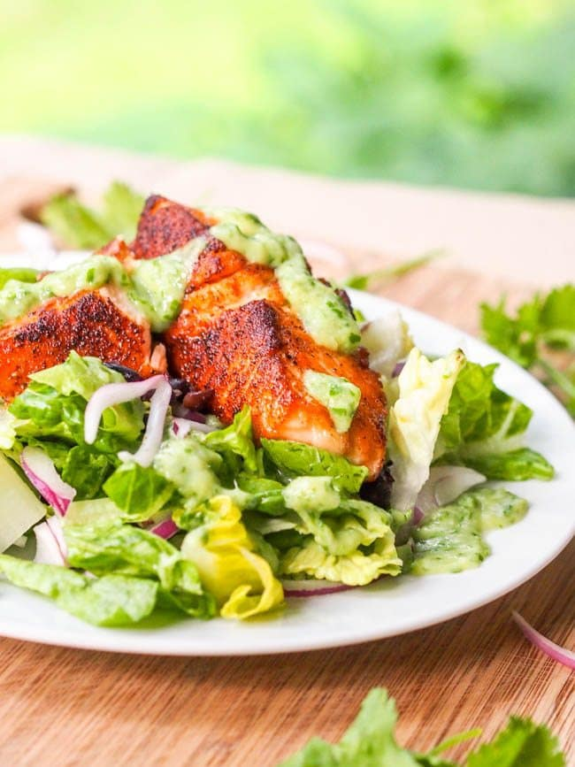 Southwestern Salmon Salad with Avocado Cilantro Dressing Recipe GF