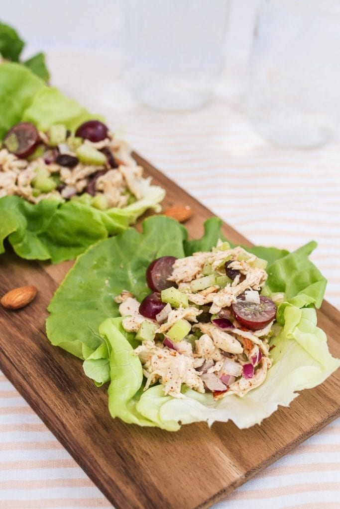 lettuce wraps with almond butter chicken salad with grapes, almonds and celery
