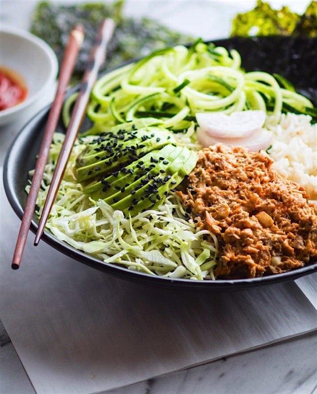 Deconstructed avocado spicy tuna salad sushi bowls 4 of 1 6