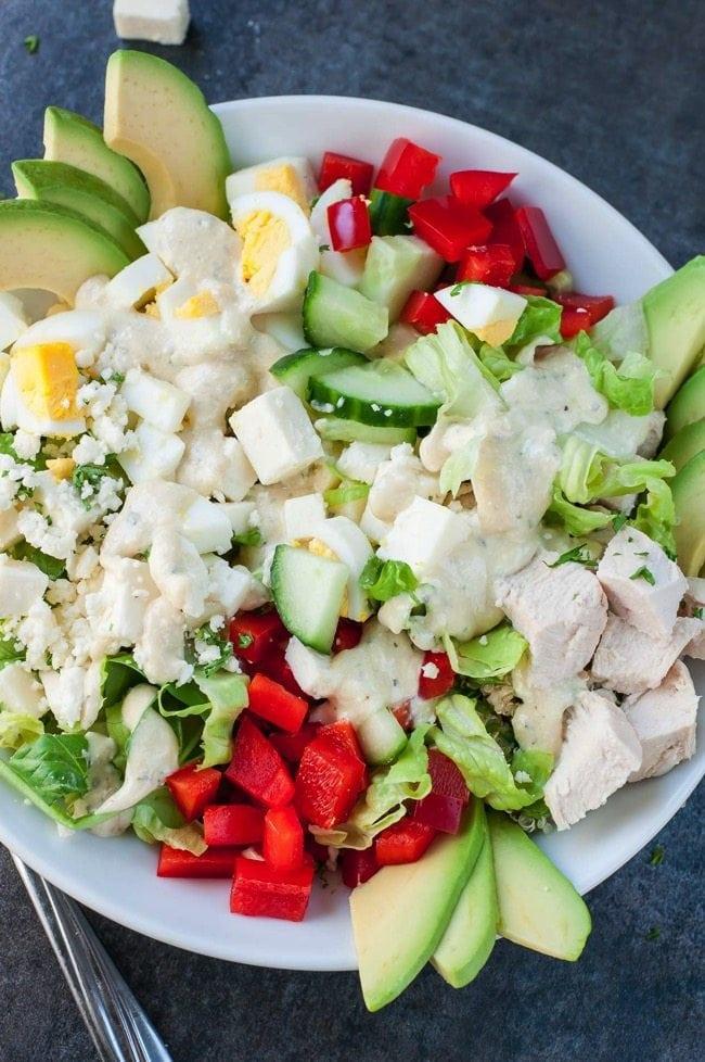 Greek cobb salad recipe creamy feta greek dressing PEASandCRAYONS 2550
