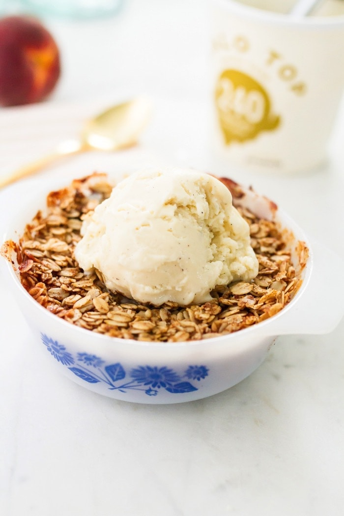 Healthier Peach Crisp for Two