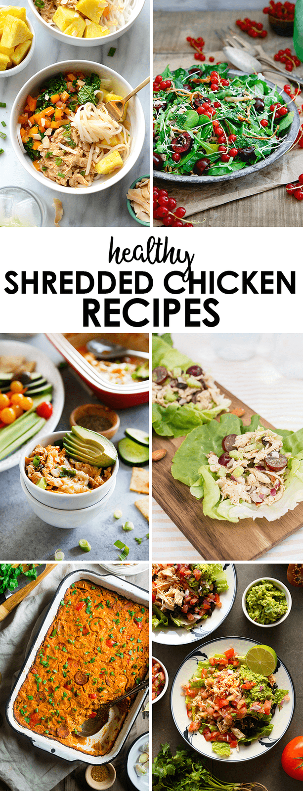 Collage of photos of healthy shredded chicken recipes.