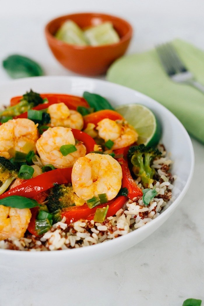 Coconut Curry Shrimp and vegetables served over brown rice.