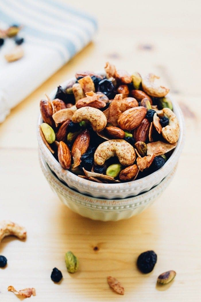 Breakfast Trail Mix with maple cinnamon roasted nuts, dried fruit and coconut.